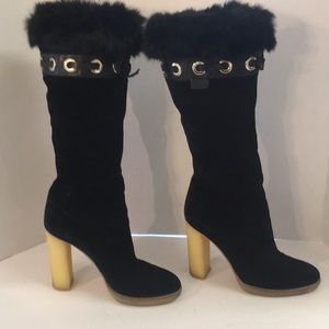 5d972384cd5a Gucci Shoes - Gucci suede fur trimmed riding boots